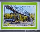 Railroad yard, train, footbridge picture, Willimantic, Connecticut, magnetic bookmark, HDR photography