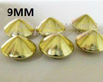 100pcs 9mm Golden CONICAL Rapid Rivet Studs For Punk Bag Shoes and Cloth DIY Accessories,Cellpone accessories