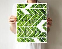 Geometric print, Green art, Geometric wall print, Chevrons, Wall decor, Geometric art print, Modern print, Modern decor. Wall print, Minimal