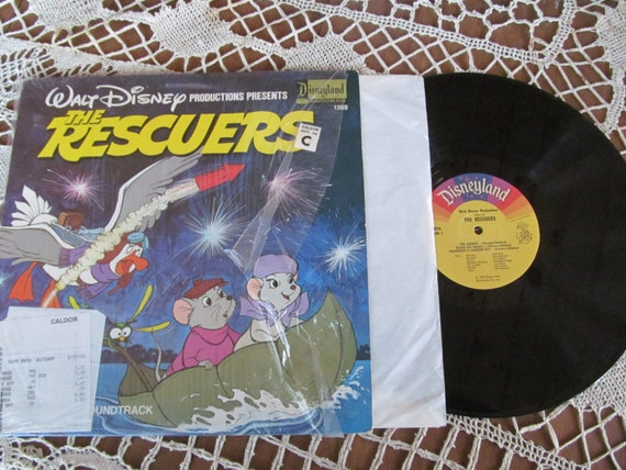 Walt Disney Vinyl Record Album The Rescuers Vintage Childrens
