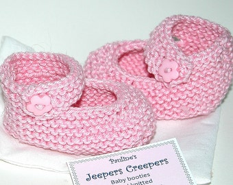 Hand Knitted Baby Booties  (Pink Mary Jane)