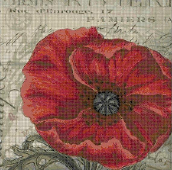 Poppy Postcard Flower and Ephemera Handmade Cross-Stitch Pattern