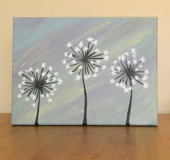 Items similar to original dandelion acrylic painting on for Cool paintings easy