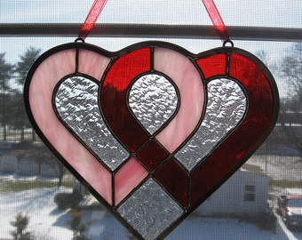Entwined Hearts Stained Glass Suncatcher - Valentine's Day Decor - Wedding Gift - Anniversary Gift - Red and Pink