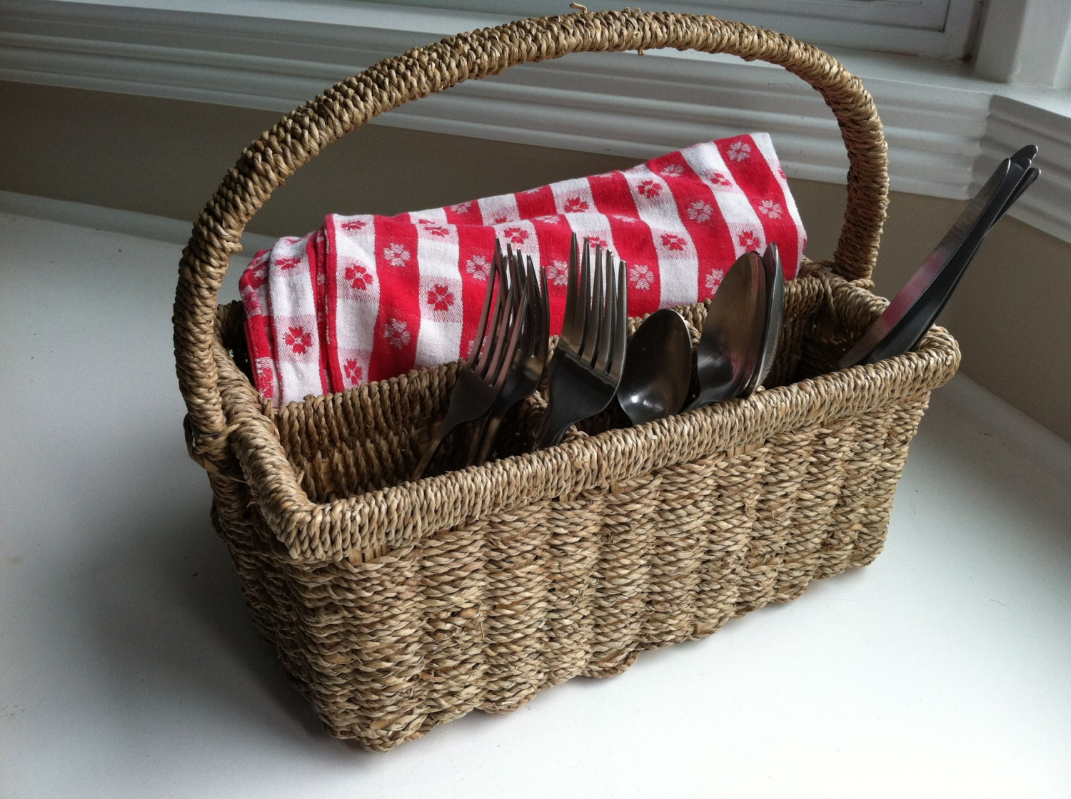 Wicker Picnic Silverware Basket Caddy