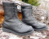 25% OFF // Men's 12w // Vintage Black Combat Boots // Vibram