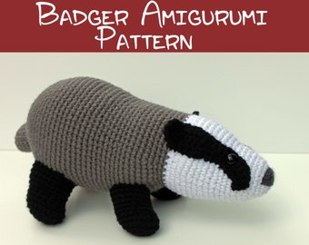 Crochet Pattern: Badger Amigurumi PDF Download