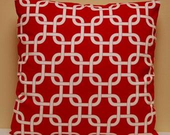 Red White Gotcha Twill Print Throw Pillow Cover 16 X 16