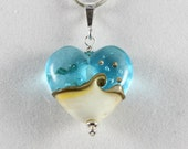 Turquoise Glass Heart Aqua and Ivory Handmade Lampwork Wave Bead Pendant made with Sterling Silver findings for Valentine's Day