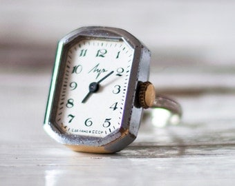 "Silver ring watch ""Luch"", Vintage ring watch ,Soviet watch , ladies watch montre femme"