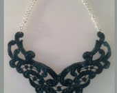 Teal Lace Bib Statement Necklace New Style - 16 inch
