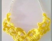 Bright Yellow Lace Bib Statement Necklace New Style - 16 inch