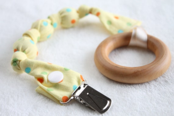 Pacifier clip, Pacifier sling, Binkie, with Wood Teething Ring -ORGANIC Yellow Dots
