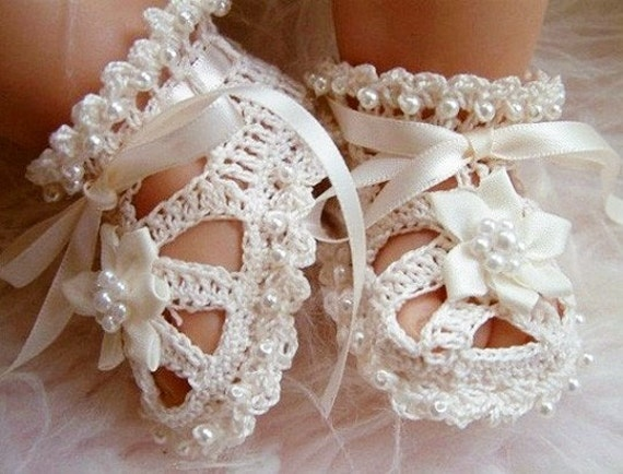 ORIGINAL DESIGNER - Baby Christening Shoes with Beads, Crochet
