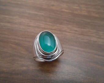 sterling silver & green agate men's ring