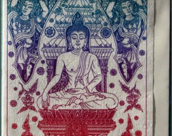 Thai traditional art of Buddha by silkscreen printing on Mulberry paper Card
