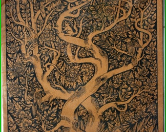 Thai traditional art of Tree by silkscreen printing on cotton (1)
