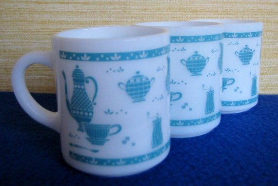 Vintage Turquoise Coffee Cups Mugs Milk Glass By