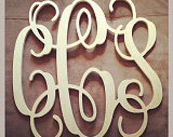 "22"" INCH Large 3 Wooden Vine Connected Monogram Letter, Unfinished,Unpainted, wedding decor monogram"