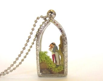 I Wish I Had More Hands .... Miniature Terrarium Necklace Lovers Gift Mini Valentines Gift  Diorama Message Necklace, Terrarium Necklace
