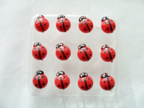 12 Luxury Ladybug Push Pins Thumb Tacks Ladybug Accessories