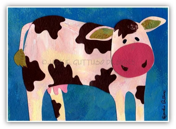 Cow art, Original, Farm animal nursery art, Brown and white cow art, Cow collage, Whimsical cow art, Kids farm art, Cow painting