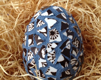 Egg-straordinary Mosaic Easter Egg RE5 w broken pieces of vintage brown and white china, and captain's blue sanded grout
