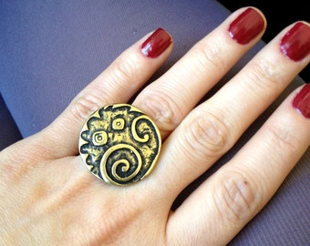 Spirals Antique Look Silver Plated or Brass Adjustable Statement Ring