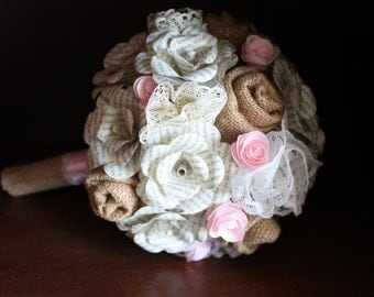 Burlap, lace, and book page bridal bouquet