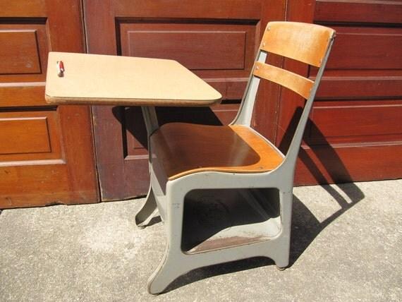 Vintage School Desk Metal Adult Sized