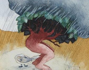 Storm - original watercolor painting - surreal fairytale watercolour - tree man - rainstorm raincloud - Nature - bird - shelter
