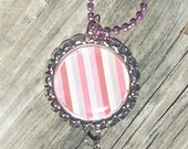 Pink, Brown and Gray Stripes Bottle Cap Charm Necklace
