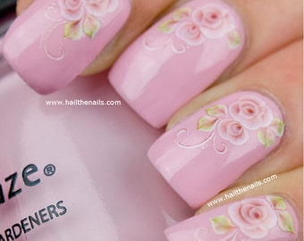 Nail Art Water Transfer Decal English Baby Pink Rose Flower YD30