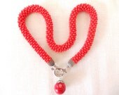 Coral necklace, red big seed beads crocheted necklace, crocheted necklace, gift necklace,coral natural stone necklace,spring necklace