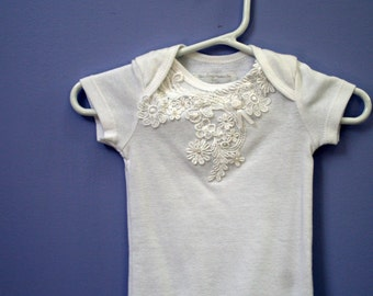 White Lace Bodysuit, Baby girl, Infant size preemie,newborn, 3, 6, 9 months,  wedding MADE TO ORDER