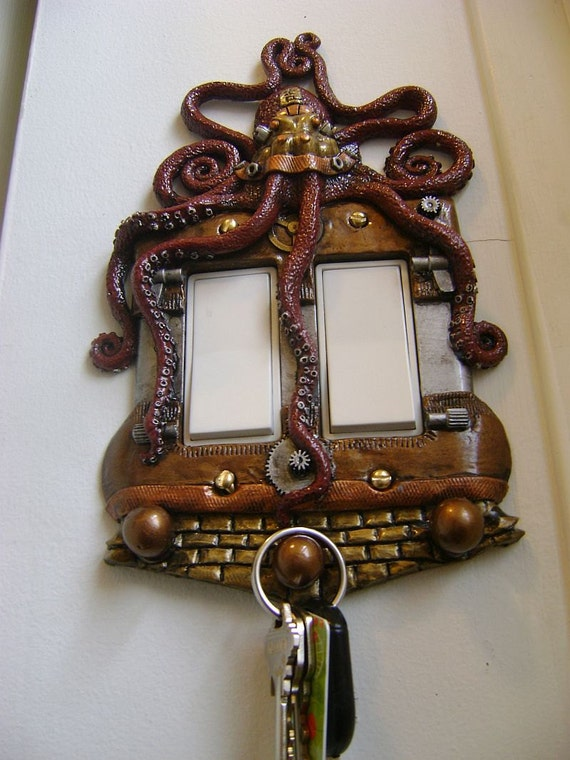 Steampunk Wall Decor Red Octopus Steampunk Rocker Style Light Switch Cov On Fascinating Steampunk Wall Decor Owl D