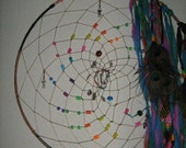 Large Dream Catcher of the Rainbow of Dreams, Dreamcatcher,native woven crystal beaded crystals beautiful rainbows