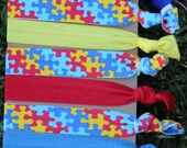7 Pack Autism Awareness The Missing Piece Puzzle Pieces Knot Hair Ties Stretch Fold Over Elastic PonyTail Holder Bracelet A1