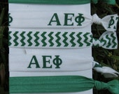 5 Pack Alpha Epsilon Phi Sorority hair ties Green White Chevron rush  Bid Gift Gifts