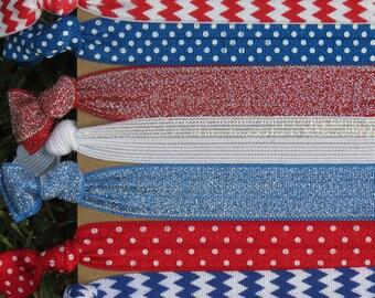 7 Pack Red White Blue Chevron Polka Dots Glitter  Knot Hair Ties Stretch Fold Over Elastic FOE PonyTail Bracelet