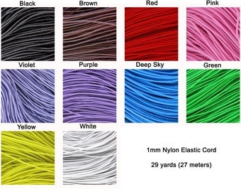 27 Meters / 29 Yards Of 1 mm Elastic Cord Cord for Jewelry & Crafts You Choose Color