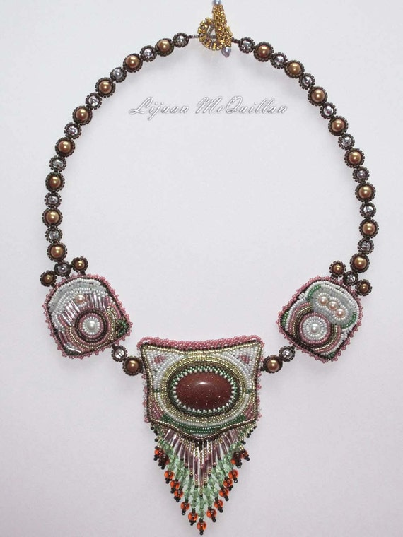 bead embroidery necklace  Bronze Age  EBEG