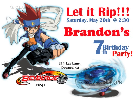 Beyblade Birthday Invitation