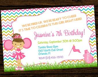 Custom Cheer Cheerleading Party Birthday Invitations - DIY Printable File