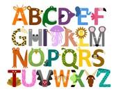 Animal Alphabet Print, Children's Art for Nursery or Kid's Room