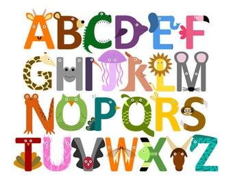 Animal Alphabet Art Print, Children's Art for Nursery or Kid's Room