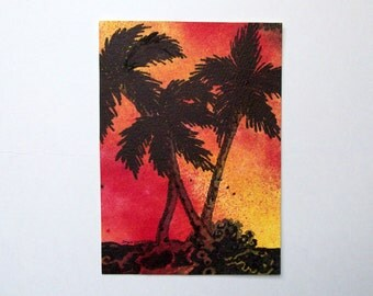 "Palm tree painting. Red sky at night, sailor's delite. Original Watercolor Painting by Joyce Dorsa 5"" x 7""Art."