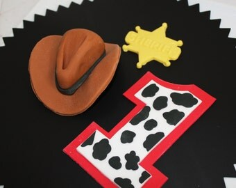 Edible Cake Topper Cowboy Hat 1 qty large, 1qty Sheriff Star cupcake topper, 1qty Cowprint Number Large for Cowboy Birthday Cake,Cowgirl