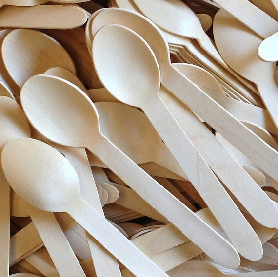 100 WOOD SPOONS - Wooden Spoon - Eco Friendly - Wedding Decor - Party Supplies