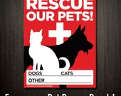2 Emergency Fire Pet Rescue Decals / Light Adhesive Window Cling - Save Our Pets - Dogs, Cats, & Other Animals - KubikDigital